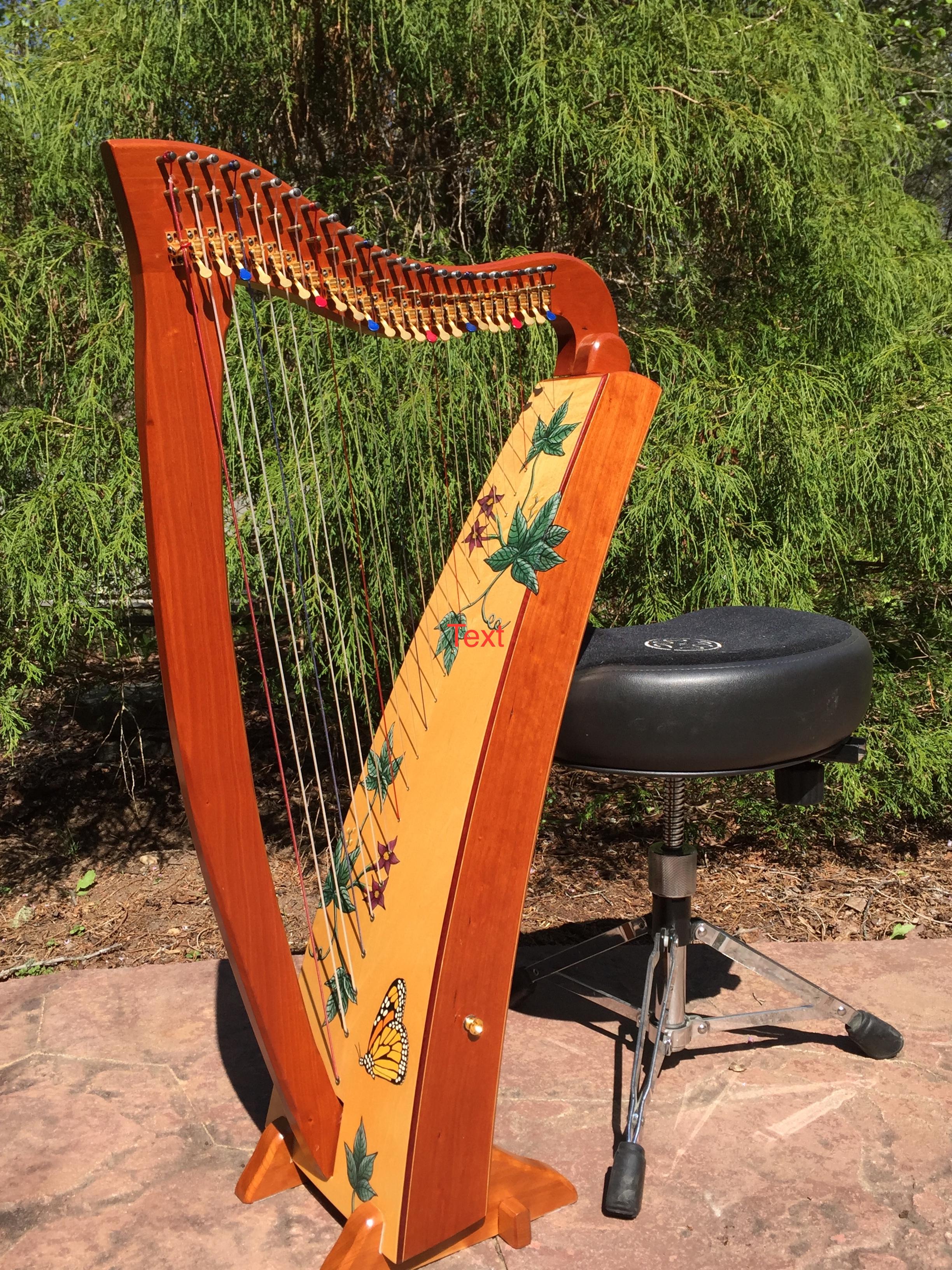 Serenity wood Heartland Harp Vines Sound Board