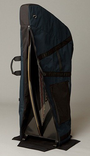 Putting harp in case, soft-sided, two-part, velcro carrying case for Delight carbon fiber harp