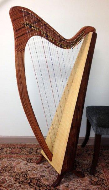 Woodgrain carbon fiber lever harp
