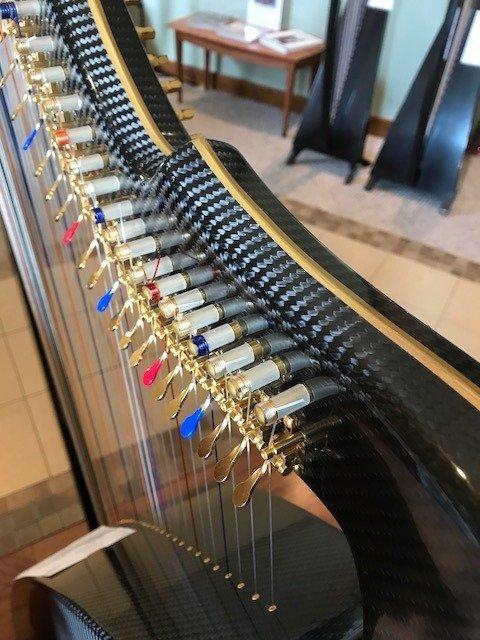carbon fiber harp neck, gold harp levers