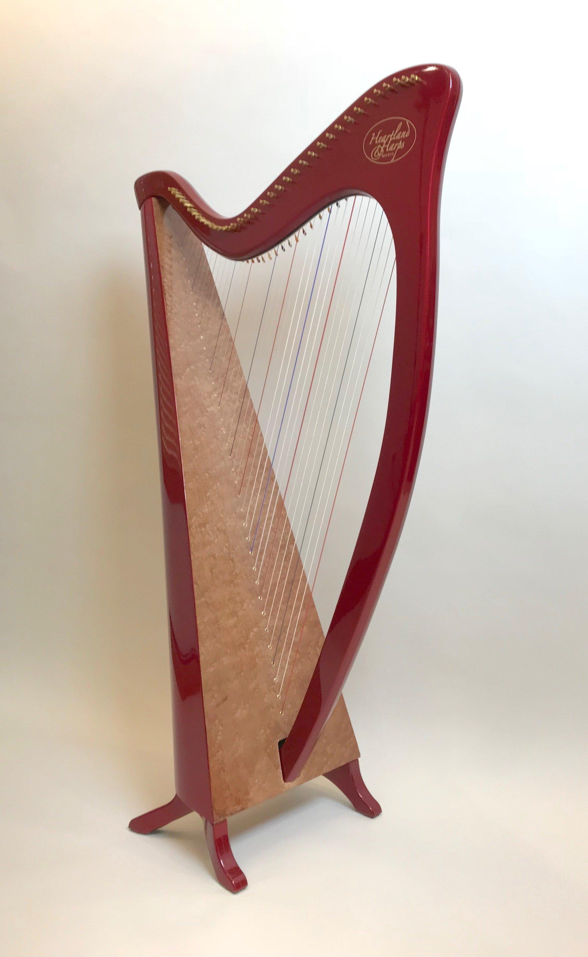 Painted Legend harp with birdseye maple soundboard