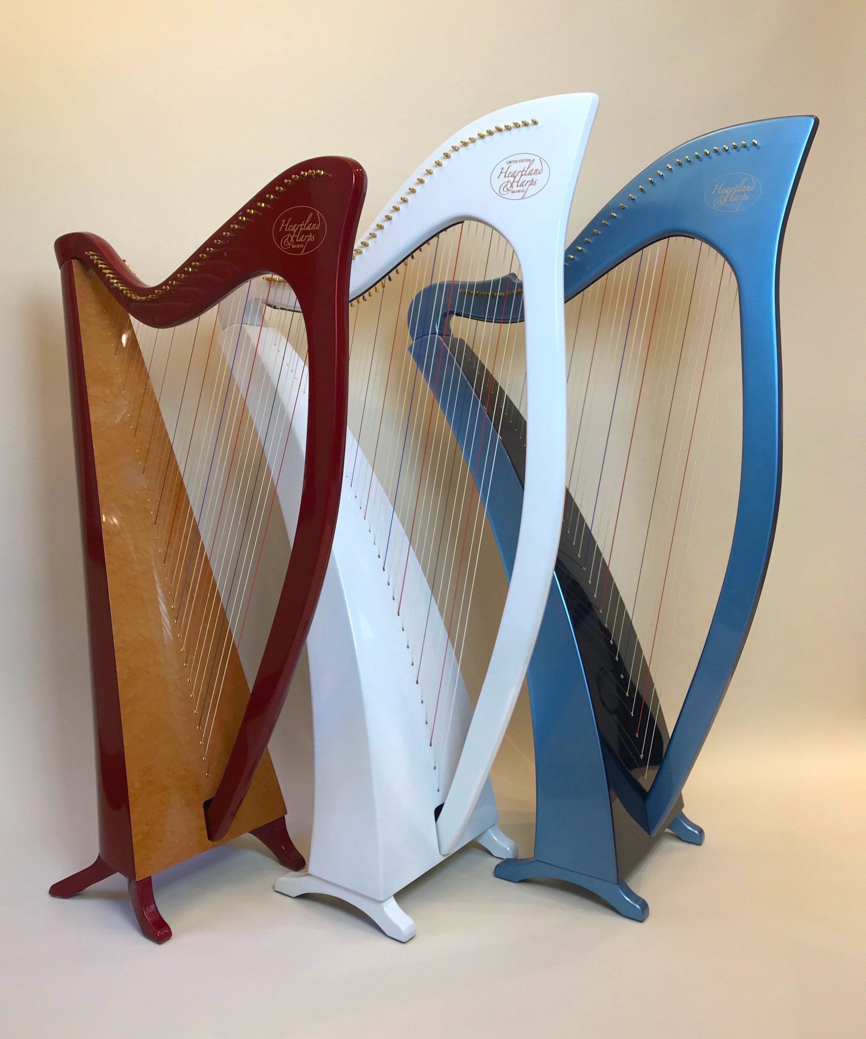 Red, white, and blue harp