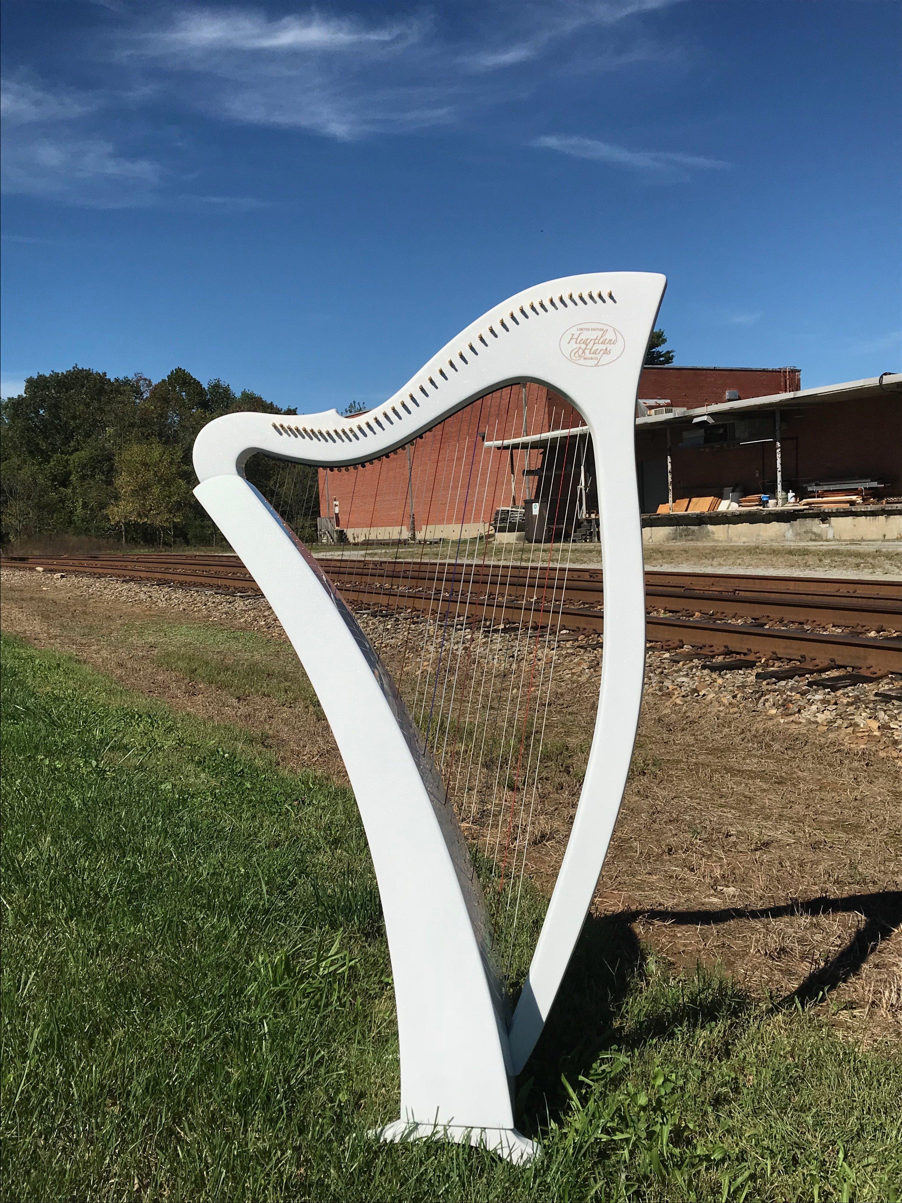 painted carbon fiber harp, harp outside