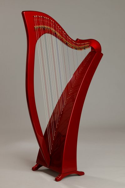 cherry red harp, painted carbon fiber harp, lightweight harp