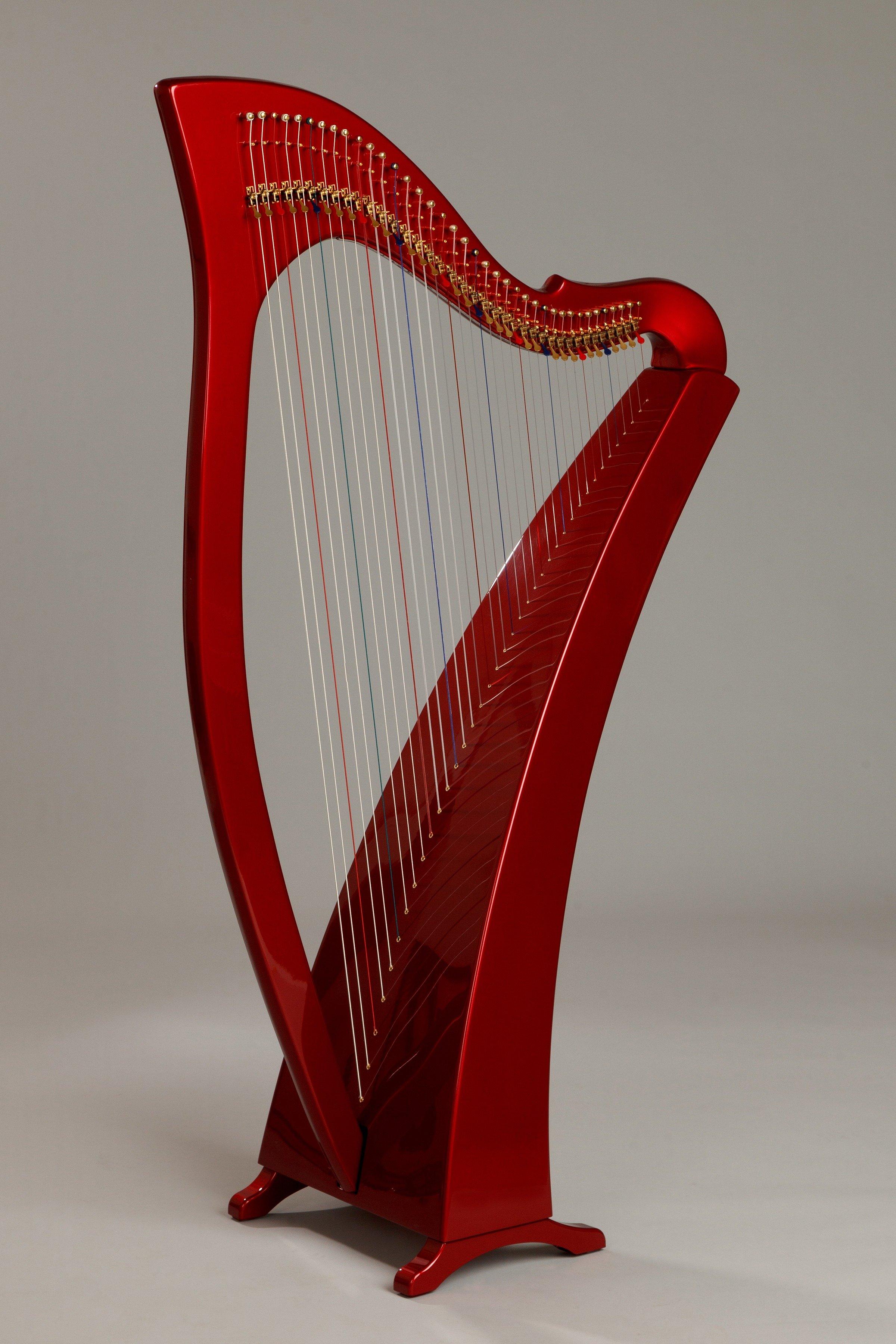 cherry red harp, painted carbon fiber harp